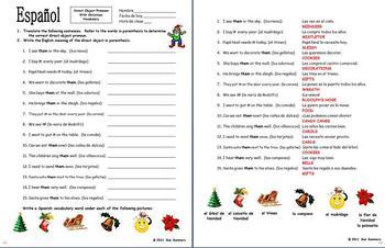 Spanish Christmas Vocabulary and Direct Object Pronouns Sentences