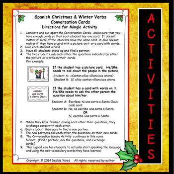 Spanish Christmas & Winter Verbs:   6 Printables and 24 Conversation Cards