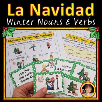 Spanish Christmas & Winter Verbs:   6 Printables and 24 Co