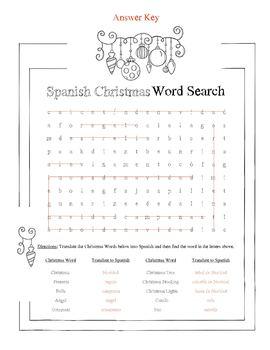 Spanish Christmas Word Search Worksheet