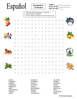 picture relating to Spanish Word Searches Printable identify Spanish Xmas Phrase Look Puzzle and Vocabulary - Navidad