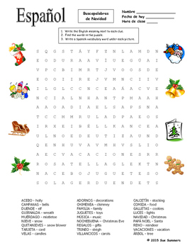 picture relating to Christmas Word Search Puzzles Printable identified as Spanish Xmas Term Glimpse Puzzle and Vocabulary - Navidad
