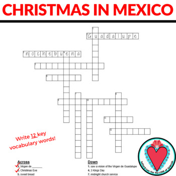 Spanish Christmas in Mexico Crossword Puzzle