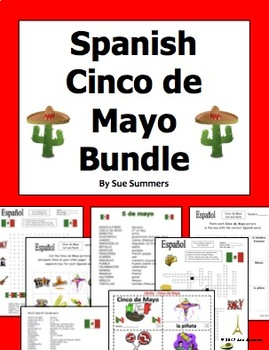 Spanish Cinco de Mayo Bundle - Vocabulary, 2 Puzzles, Cut and Paste, Booklet