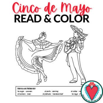 Spanish Cinco de Mayo Activity - Color by Number, Read and Color