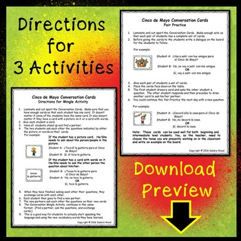 Spanish Cinco de Mayo Conv. Cards (Includes Directions for 3 Activities)