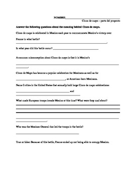 Spanish Cinco de Mayo Project and Worksheet