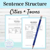 Spanish Preterite Tense Cities and Towns Sentence Structure Worksheet