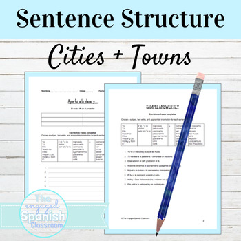 Spanish Cities and Towns: Sentence Building worksheet (Pue