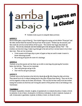 Spanish City Locations Partner Activities (Speak, Read, Listen, Write)