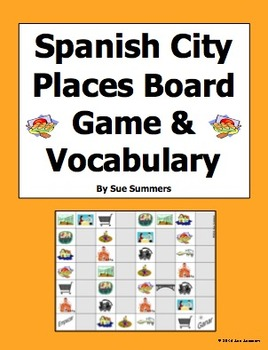 Spanish City Places Board Game and Vocabulary