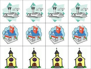 Spanish City Places Vocabulary Game (Ve a pescar-Go Fish)