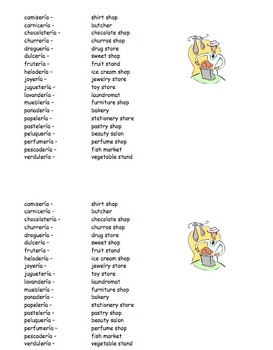 Spanish City Shops Word Search Puzzle and Vocabulary IDs Worksheet