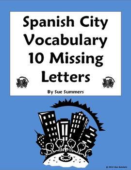 Spanish City Vocabulary Missing Letter Worksheet
