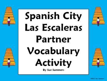 Spanish City Vocabulary Partner Activity / Vocabulary Reference