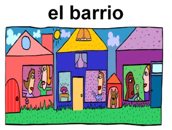 Spanish City Vocabulary PowerPoint / Flashcards / Class Signs