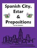 Spanish City Vocabulary with Estar & Location Prepositions Worksheet