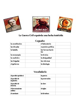 Spanish Civil War Vocabulary, Speaking, Writing and Research Activities