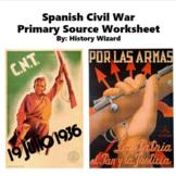 Spanish Civil War Worksheet and Writing Activity (Pre-World War II)