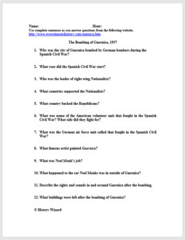 Spanish Civil War Worksheet and Writing Activity (Pre-World War II)