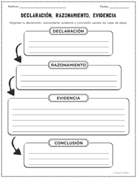 Spanish Claim, Reason, and Evidence Graphic Organizer