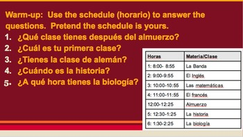Spanish Clases Horario Colegio Supplemental Activities & Assessments U2L1 2.1