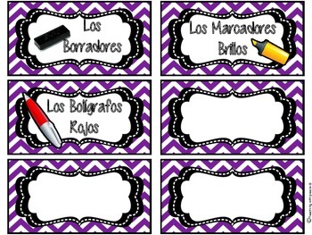 Spanish Classroom Supply Labels with Graphics/ Clip Art
