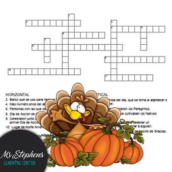 Spanish Class Activity- Thanksgiving Crossword Puzzle