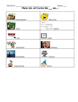 Spanish- Class Adjective Note Sheet