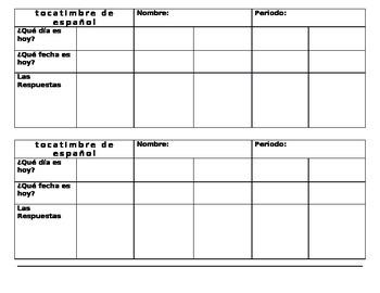 Spanish Class - Bellwork/Bellringer/Tocatimbre