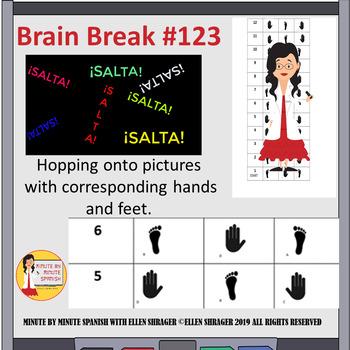 Spanish Class Brain Break Hopscotch - Hand - Foot Pictures to Salta Salta Video