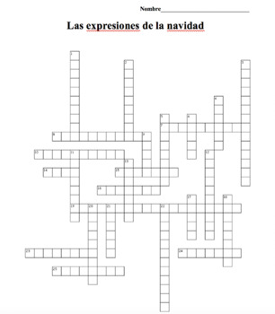 Spanish Class Christmas Expressions Crossword Puzzle