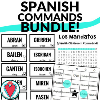 Spanish Class Commands Bundle - Word Search, Bingo & Mini Posters