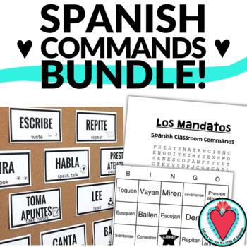 Spanish Bundle - Class Commands Word Search, Bingo & Mini Posters