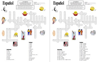 Spanish Class Commands Crossword & Vocabulary - Substitute Lesson