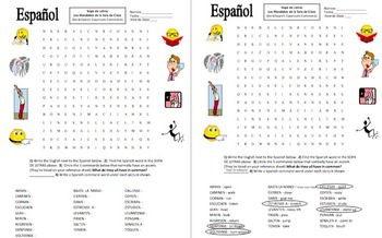 spanish class commands word search and vocabulary substitute lesson. Black Bedroom Furniture Sets. Home Design Ideas