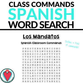 Spanish Class Commands WORD SEARCH