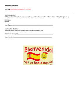 Back to School Spanish Class Contract Template