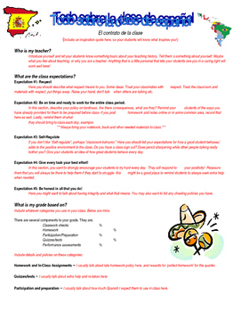First Week of School Spanish Class Contract Template