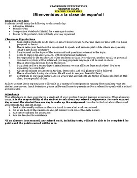 Spanish Class Contract for Back to School