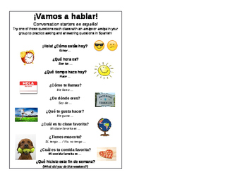 Spanish Class Conversation Starters for 5x7 Frames