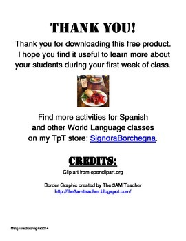 Spanish Class First Day Student Survey