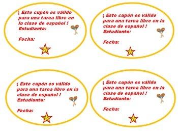 Spanish Class: Free Homework Passes