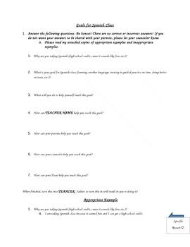 Spanish Class Goal Setting Sheet- For Parent-Teacher Conferences