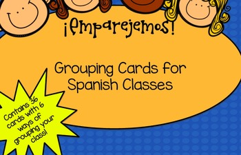 Spanish Class Grouping Cards