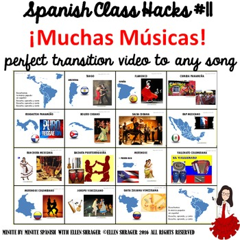 Spanish Class Hack 90% TL + Classroom Management: Transition Video to Song Music