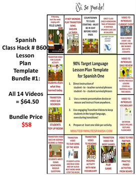 Spanish Class Hack 90% TL Template Video Bundle