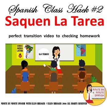Spanish Class Hacks to 90% TL, TCI, Classroom Management:  Video Saquen la Tarea