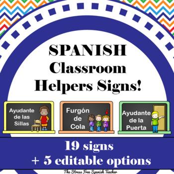 Spanish Class Helpers / Monitors / Ayudantes, Chalkboard theme (editable)