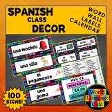 Spanish Class Labels, Word Wall, Hispanic Decor, Classroom Decorations, Calendar